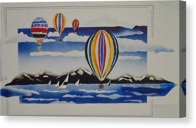 Hot Air Balloons Canvas Print featuring the painting Hot Air Balloons Over Lake Tahoe by Egon Klementi