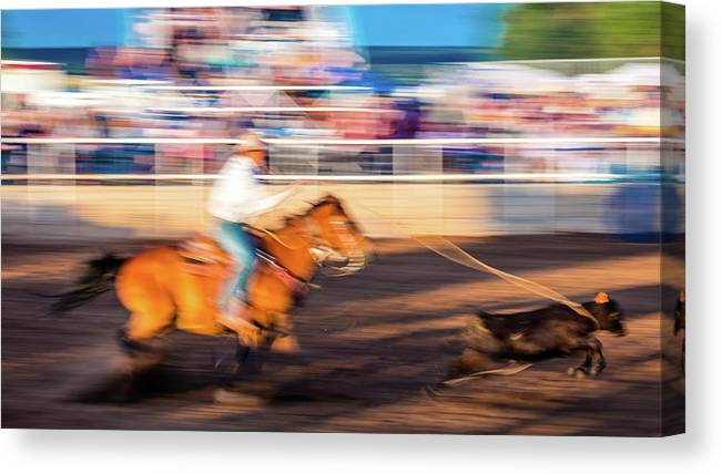 Photography Canvas Print featuring the photograph Norwood Colorado - Cowboys Ride by Panoramic Images