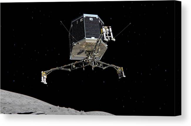 Comet Canvas Print featuring the photograph Philae Lander Descending To Comet 67pc-g by Science Source