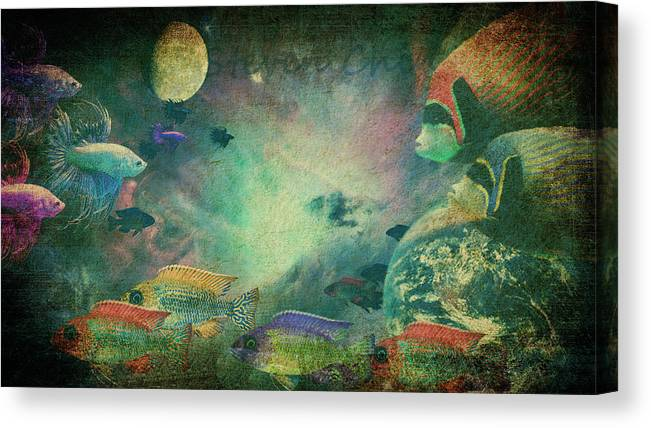Space Canvas Print featuring the digital art Space Fish by Steven Chin