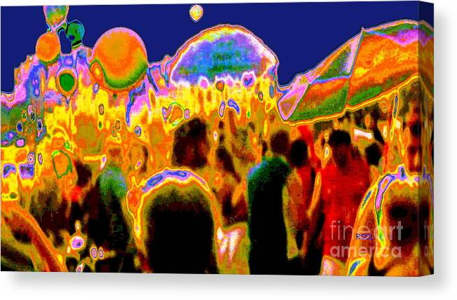 Street Scene Canvas Print featuring the digital art Street Festival At Night by Raphael OLeary