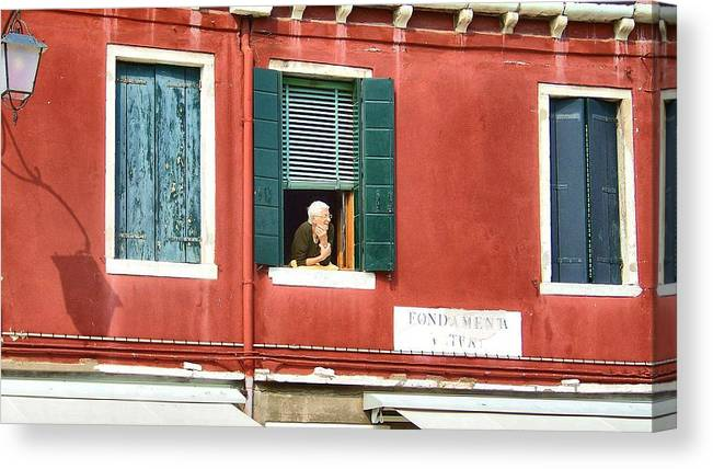 Italy Canvas Print featuring the photograph Old Woman Murano by Cathryn Brown