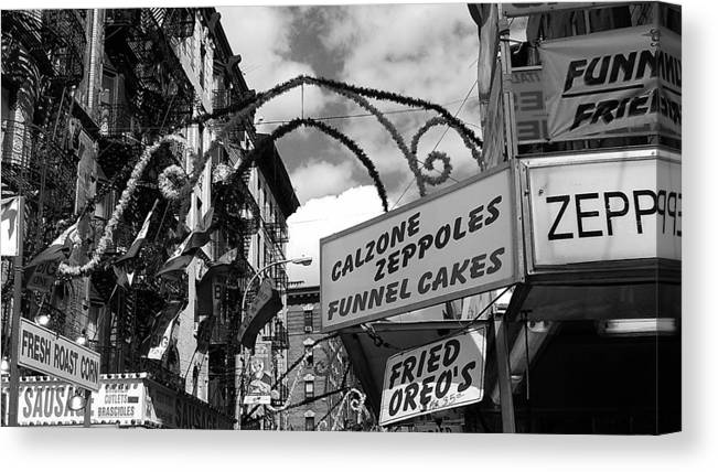 Feast Of San Gennaro Canvas Print featuring the photograph The Feast In Black And White by Catie Canetti