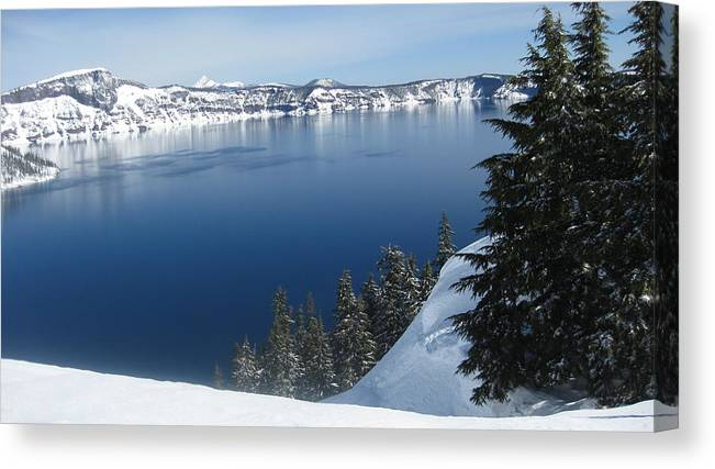 Crater Lake Canvas Print featuring the photograph The Rim by Lisa Spencer Osterhoudt