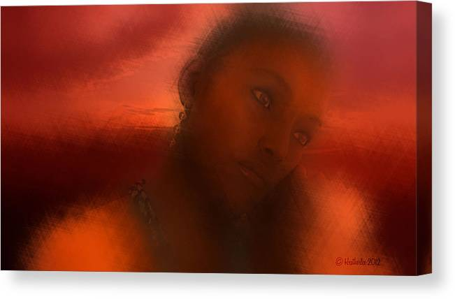Sunset Canvas Print featuring the digital art Woman by Heather Douglas