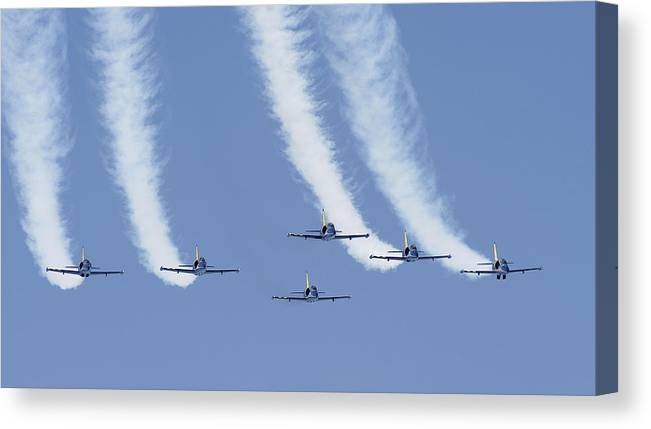 Breitling Squad Canvas Print featuring the photograph Breitling Squad by Joao Carrasco