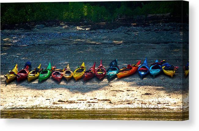 Kayak Canvas Print featuring the photograph Kayaks In A Row by Faith Harron Boudreau