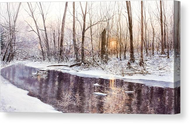 Stream Canvas Print featuring the painting Morning On Monocacy by Steven J White PWS