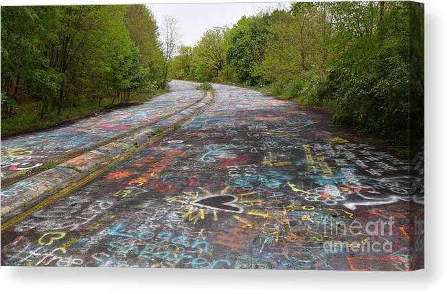 May Canvas Print featuring the photograph Graffiti Highway, Facing North by Ben Schumin