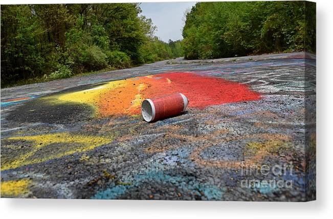 May Canvas Print featuring the photograph Discarded Spray Paint Can by Ben Schumin
