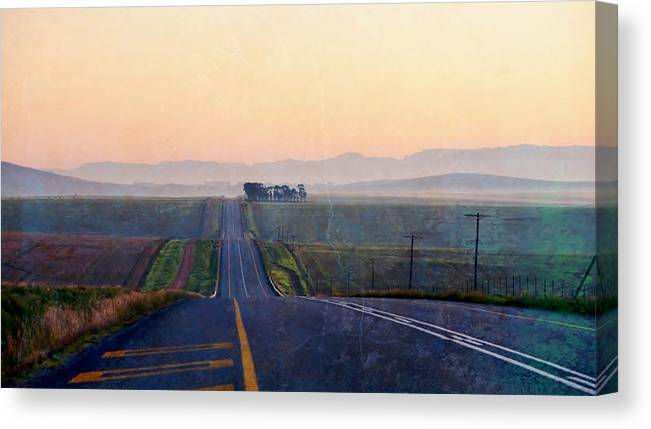 Landscape; Country Road; Sunrise; Swartland; Texure; South Africa; Orange; Sky; Trees; Road; Mountains; Canvas Print featuring the photograph Country Road by Werner Lehmann