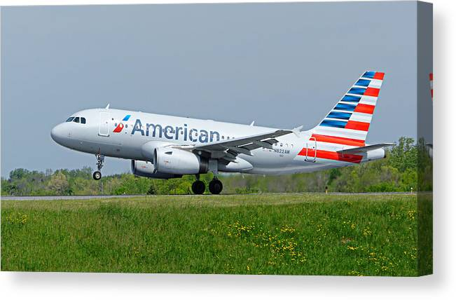 Airbus Canvas Print featuring the photograph Airbus A319 by Guy Whiteley