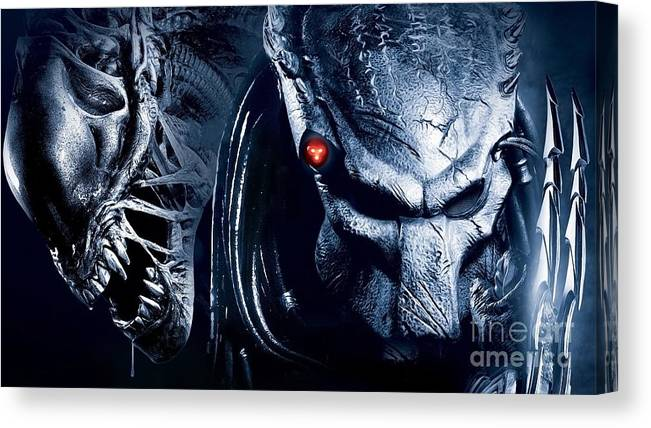 0e16d8a3 Alien Canvas Print featuring the painting Alien Vs Predator by Jonas Luis