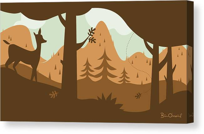 Landscape Canvas Print featuring the print Autumn Landscape With Deer by Bill ONeil