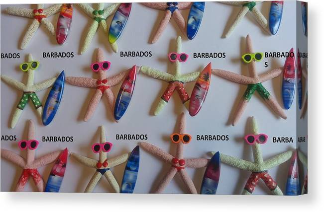 Souvenirs Canvas Print featuring the photograph Barbados Starfish Surfers by Sterlin Blackman