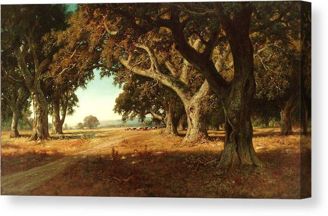 Landscape Canvas Print featuring the painting California Ranch by Roberto Prusso