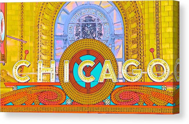 Signage Canvas Print featuring the photograph Chicago Theatre by Lenore Holt-Darcy