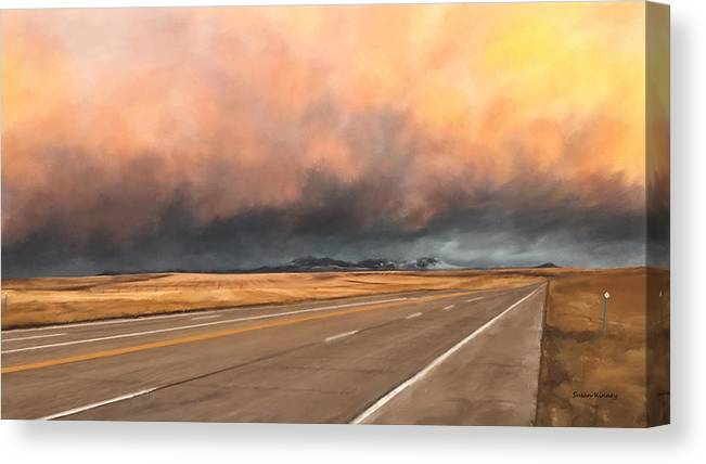 Clouds Canvas Print featuring the painting Cloudy Highway by Susan Kinney