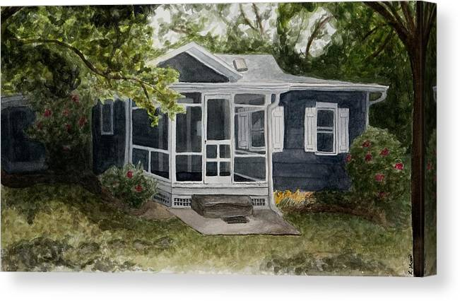 Cottage Canvas Print featuring the painting Cottage by Laura Shoop