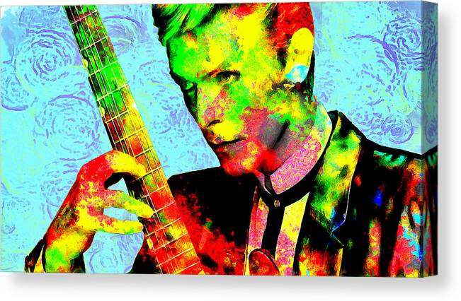 Musician Canvas Print featuring the painting David Bowie by Galeria Trompiz