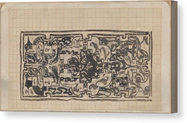 Pattern Canvas Print featuring the painting Design For A Binding For Charivaria, Carel Adolph Lion Cachet, 1874 - 1945 by Artistic Rifki