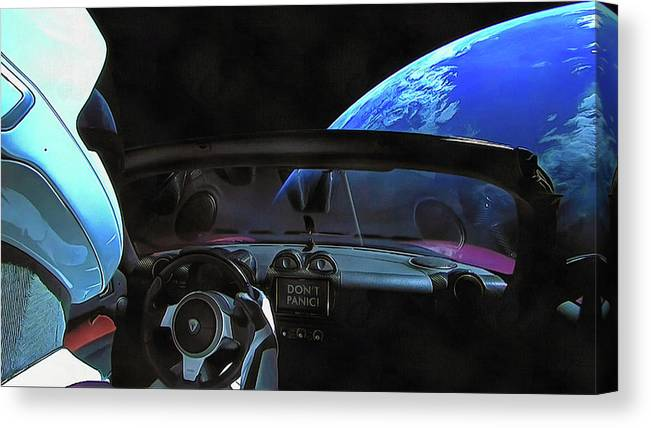 f91fe9068 Starman Canvas Print featuring the photograph Dont Panic - Tesla In Space  by SpaceX