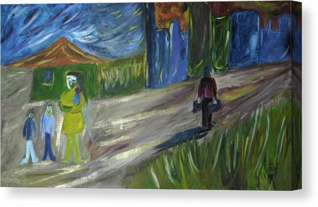 Landscape Canvas Print featuring the painting El Dia Mas Oscuro by Johnny Aguirre