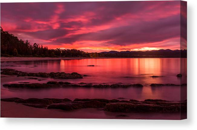 Seascape Canvas Print featuring the photograph Fire In The Sky by Racheal Christian