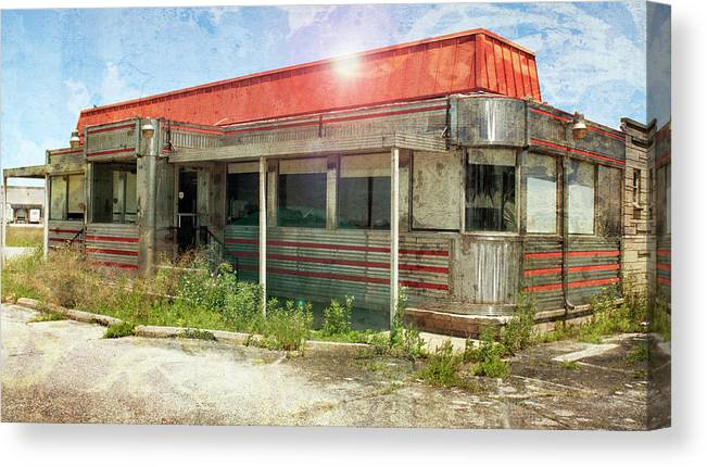Flo Canvas Print featuring the photograph Flo's Roadside Diner by John Remy
