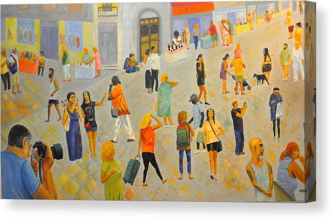 People Canvas Print featuring the painting Friday In Tel Aviv by Asher Topel