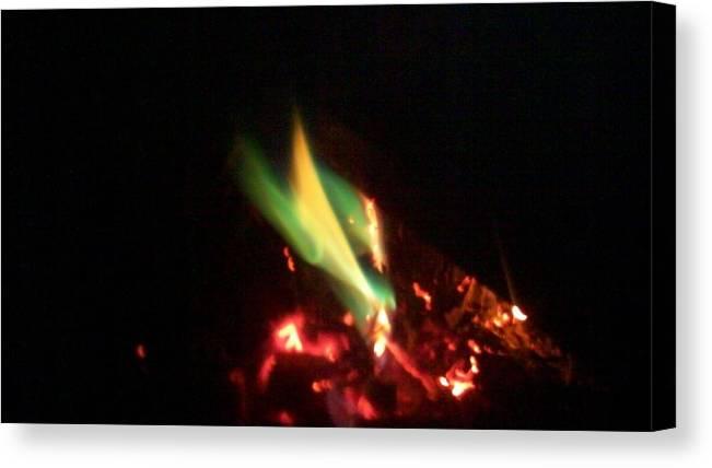 Fire Canvas Print featuring the photograph Green Fire by Paula Ferguson