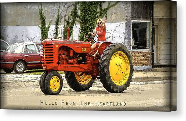 Farmers Canvas Print featuring the digital art Hello From The Heartland by Joe Paradis