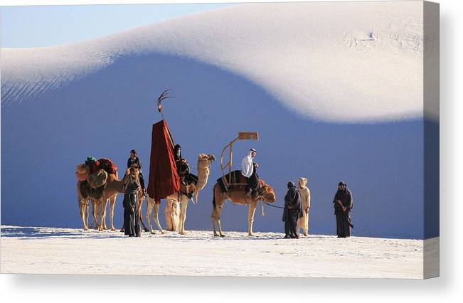 White Sands National Monument Canvas Print featuring the photograph I Crashed A Film Location Shooting by Brian M Lumley