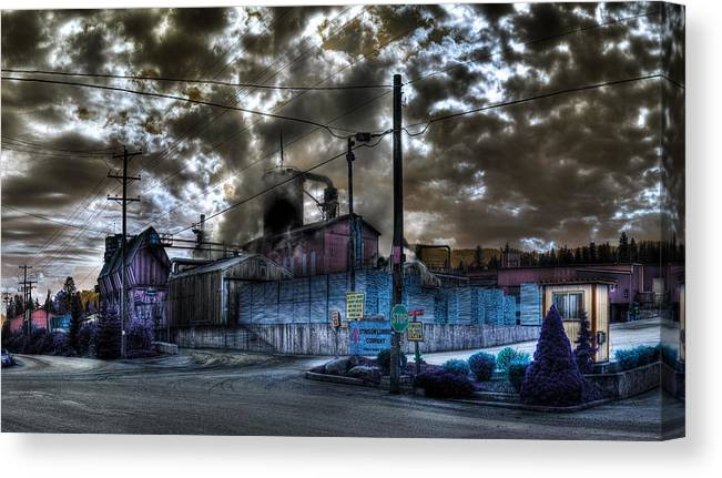 Digital Fantasy Canvas Print featuring the photograph Lumber Mill Fantasy by Lee Santa