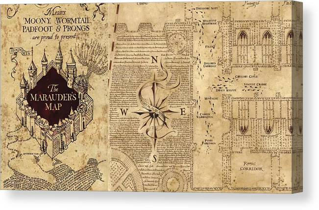 picture regarding Harry Potter Marauders Map Printable called Marauders Map Canvas Print