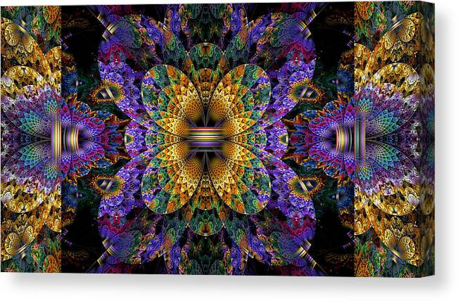 Abstract Canvas Print featuring the digital art Mardi Gras Split Crop by Peggi Wolfe