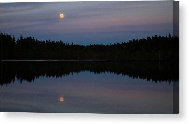 Lehtokukka Canvas Print featuring the photograph Moon Over Kirkas-soljanen by Jouko Lehto