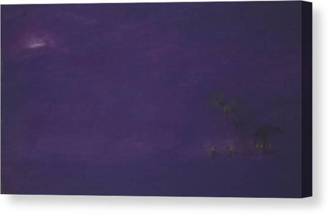 Purple Canvas Print featuring the pastel Moonrise by Amanda Clark