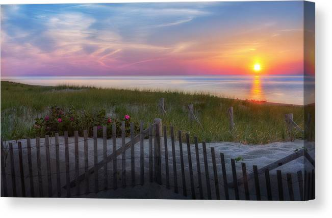 Cape Cod Seascape Canvas Print featuring the photograph Race Point Sunset Cape Cod 2015 by Bill Wakeley
