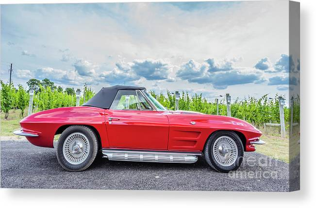 Auto Canvas Print featuring the photograph Red Vintage Corvette Sting Ray Vineyard by Edward Fielding