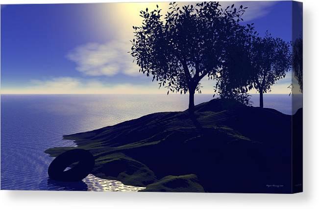 Blue Canvas Print featuring the digital art Serenity Evening by Wayne Bonney