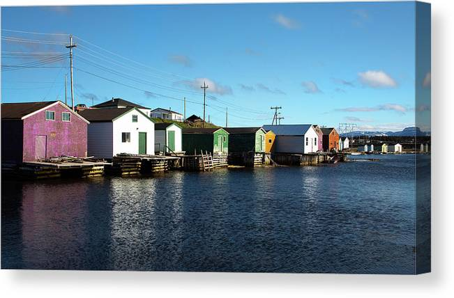 Gros Morne Canvas Print featuring the photograph Shacks On The Bay by Linda Cullivan