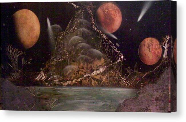 Space Painting Canvas Print featuring the painting Stairway To Nowhere by Paula Ferguson