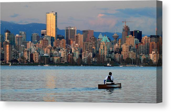 Vancouver Canvas Print featuring the photograph Vancouver Canoe by Pierre Leclerc Photography