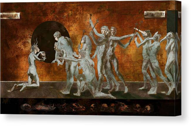 Drawing Canvas Print featuring the digital art Wall Mart Ministries And The Black Plague by Tom Durham