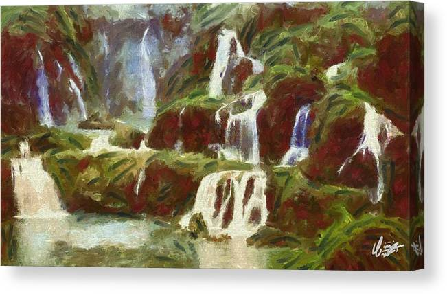 Ermont Canvas Print featuring the painting Waterfall by Wahyu Nurcahyo