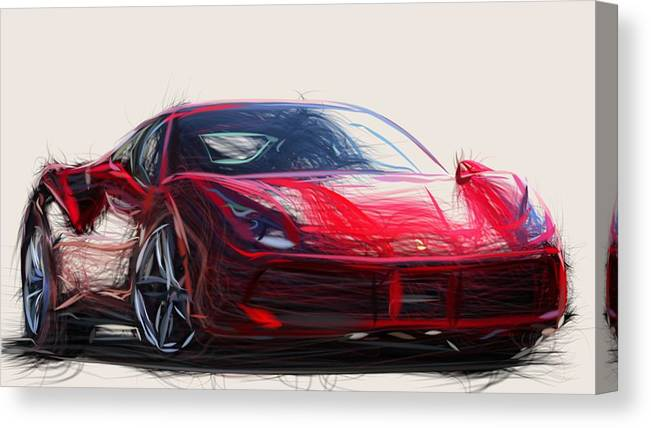 Ferrari 488 Gtb Draw Canvas Print