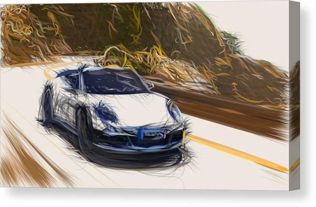 Porsche 911 Carrera Gts Draw Canvas Print
