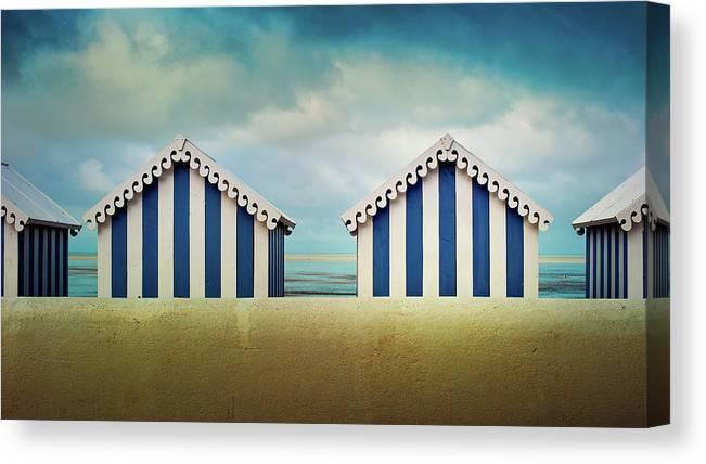 Beach Hut Canvas Print featuring the photograph Beach Huts by Quicksil7er