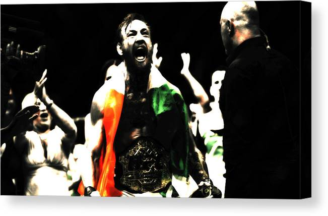 Conor Mcgregor Canvas Print featuring the mixed media Conor Mcgregor Getting It Done by Brian Reaves